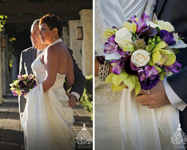 meadows events | www.meadowsevents.net|wedding and event planning services los angeles | purple and green orchid bouquet wedding at westlake village inn california