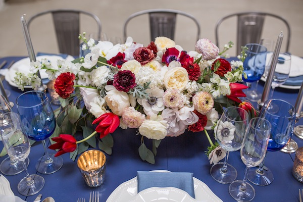 red pink burgundy centerpiece