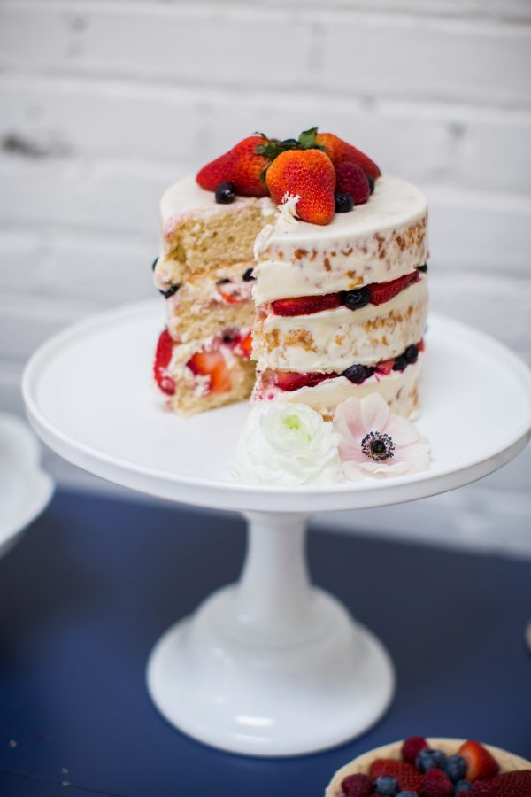 strawberry and berry naked wedding cake