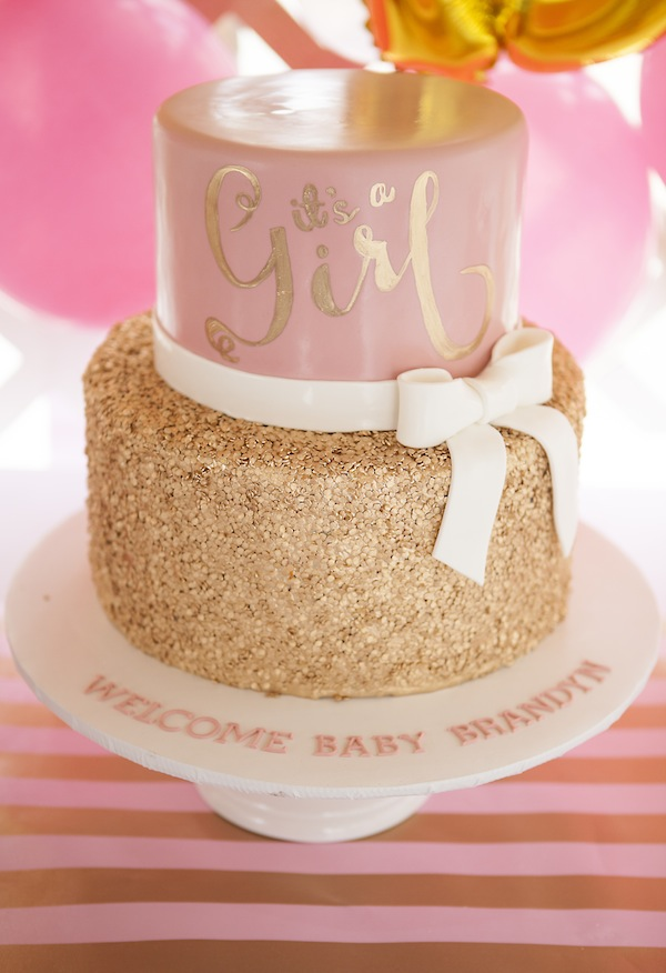 Rose And Gold Baby Shower Cakes