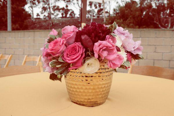fushia, pink flower centerpiece