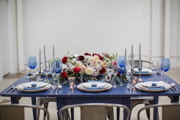 blue and white table setting fourth of july shoot at honey pot los angeles