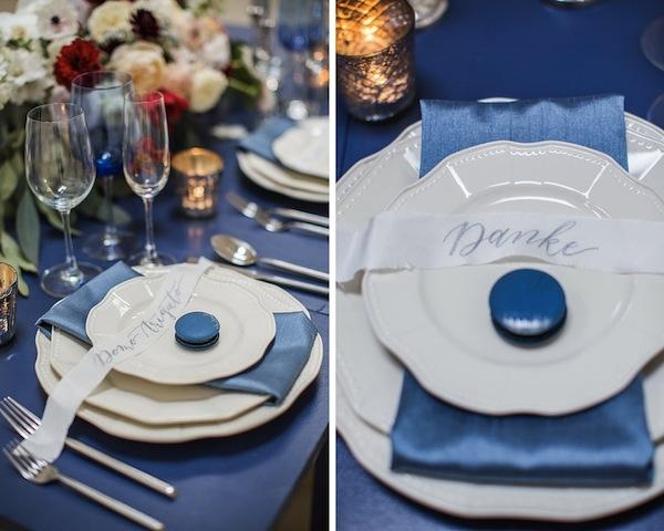 blue, white silver table setting _ honeypot los angeles venue