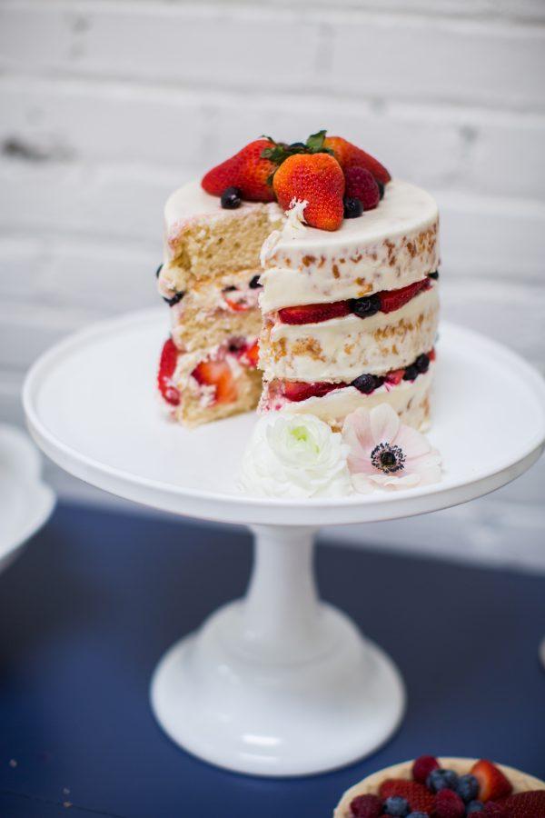 strawberry and berry naked wedding cake
